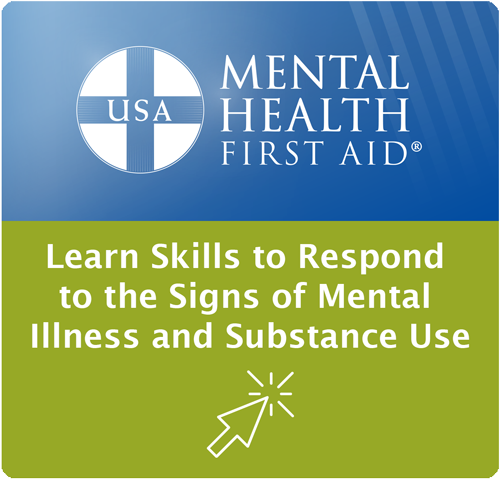 Mental Health First Aid - icon image points to education opportunities