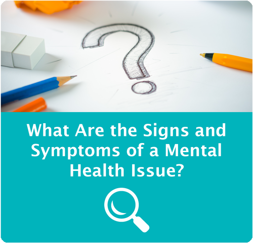 Question mark icon image - points to information about signs and symptoms of mental health issues